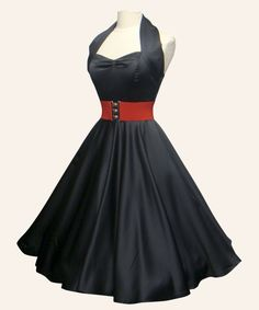 black 50s halter neck satin dress w/red 3 inch belt and red petticoat?