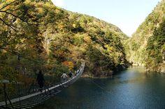 The Yume Suspension Bridge (夢の吊橋) over the Oma Reservoir in Shizuoka Prefecture