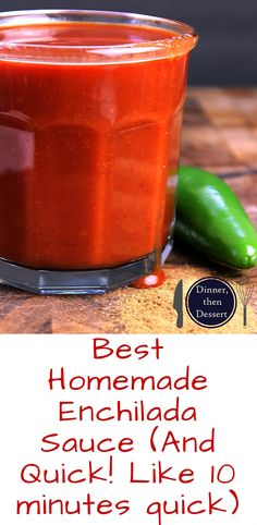 Ditch the can, feel like you're at your favorite Mexican restaurant in ten minutes! Homemade Enchilada sauce that is so good you'll top it on everything, even your eggs! Homemade Enchilada Sauce, Homemade Enchiladas, Homemade Sauce, Chicken Enchiladas, Vegetarian Enchiladas, Homemade Seasonings, Chicken Fajitas, Sauce Recipes, Great Recipes