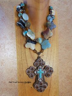 Christian Cowgirl Western Statement Necklace Set  Chunky