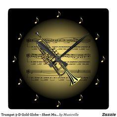 Trumpet 3-D Gold Globe ~ Sheet Music ~ Black BG ~ Square Wall Clock