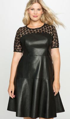 Plus Size Lace and Leather Dress