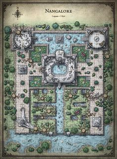 Royal Garden Ruins wilderness river e-w plains alligators dnd D&D Dungeons and Dragons Battle Map (saved) lg Fantasy City Map, Fantasy Places, Pathfinder Maps, Building Map, Building Layout, Rpg Map, Map Maker, Dungeon Maps, D&d Dungeons And Dragons