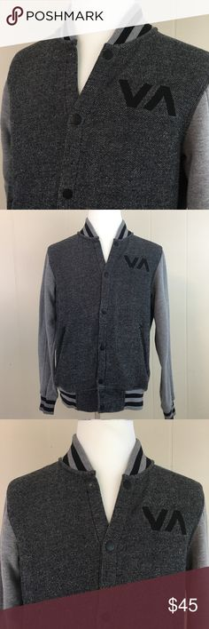 RVCA  Men's Jacket Size Medium M Gray Cotton Brand:  RVCA  Condition:  This item is in Good Pre-Owned Condition! There are NO Major Flaws with this item, and is free and clear of any Noticeable Stains, Rips, Tears or Pulls of fabric. Overall This Piece Looks Great and you will love it at a fraction of the price!  Material:  Cotton Blend  Size: Medium  Top Rated Seller Top 10% Seller 10% Discount on Bundles  Super Fast Shipping RVCA Jackets & Coats Bomber & Varsity