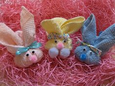 diy Washcloth Bunnies~I have made hundreds of these. They're so easy and cute. I fill a plastic egg with candy and insert it. It makes an adorable Easter favor or gift.