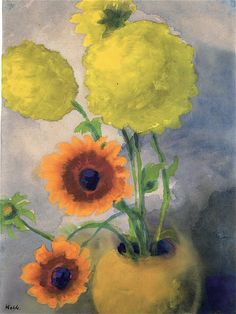 Dahlias in a Yellow Vase Emil Nolde - circa 1930-1939 Private collection Painting - watercolor Height: 45.3 cm (17.83 in.), Width: 34 cm (13.39 in.)