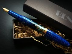 Fountain-pen BENU Essence collection.The Bird of Paradise pen embraces the vibrancy of exotic nature and features a spectrum of marine blues, fresh greens and luminous golds.