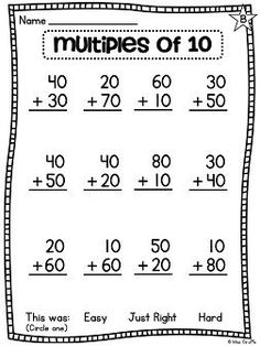 Differentiated worksheets to help add and subtract multiples of ten - perfect for first grade math Mental Maths Worksheets, First Grade Math Worksheets, 1st Grade Math, Grade 1, Addition And Subtraction Worksheets, Math Addition, Math School, Math Lessons, Math For Kids