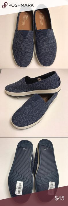 NEWToms Avalon Navy Textured Textile Sneakers AVALON SLIP-ONS added Cup sole comfort and stability to TOMS classics, inspired by the Southern California beach culture. Super-durable, breathable and lightweight, this slip-on sneaker features TOMS' signature asymmetrical toe detail and cushy rubber sole.  It is a woven pattern of Navy and white. Brand new.  No box. TOMS Shoes Sneakers