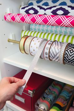 Organized ribbon in gift wrap station