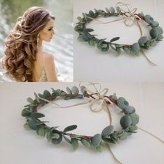 Adult Greenery Flower Crown Frosted Eucalyptus Halo Green