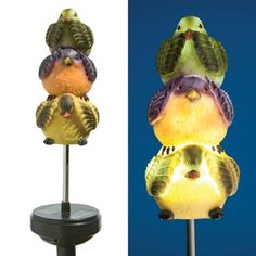 SOLAR SPINNING LIGHT UP BIRDS STAKE