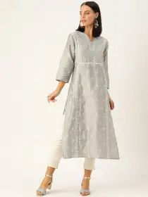 House of Pataudi Women Grey & White Embroidered Straight Kurta