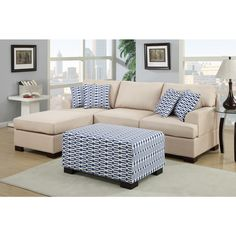 Moss 2-piece Blended Linen Sectional Sofa with Matching Ottoman - Overstock™ Shopping - Big Discounts on Poundex Sectional Sofas