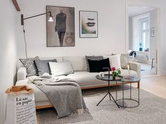 Living room with grey sofa and posters on wall