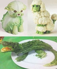 Cute Food Art of veggiesFruit and Vegetable Artthis is a picture of vegetable animalsHave you ever tried to get crafty with your food? Cake and chocolate are one popular medium, but there is another level of difficulty with fruits and veggies that ar Food Art For Kids, Cute Food Art, Arte Do Sushi, Fruit Presentation, Amazing Food Art, Awesome Food, Creative Wedding Cakes, Fruit And Vegetable Carving, Watermelon Carving