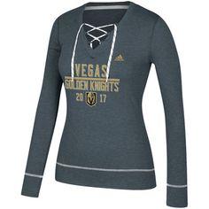 28d7e6826e49b2 Women's Vegas Golden Knights adidas Heathered Gray Bar Down Skate Lace Long  Sleeve T-Shirt