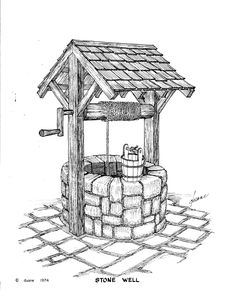 "Vintage hand-dug water well with hand crank and water bucket.  ""Wishing Well""."