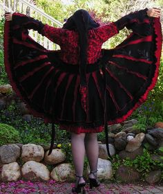 Recycled Sweater Coat, Dark Shadows,Gypsy Carousel Coat, Upcycled Sweater Dress, Red and Black, Elfin Hood Reconstructed