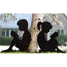 Shadow Silhouette Metal Cutout Reading Kids Yard Art