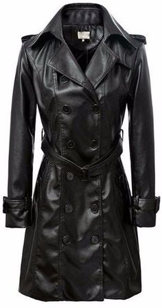 Black Double-Breasted Faux-Leather Coat