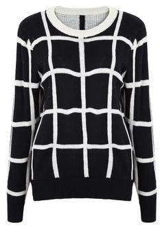 Black Long Sleeve Plaid Loose Pullovers Sweater - Sheinside.com