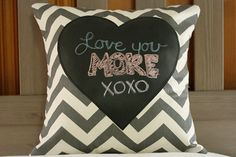 This is my friend's etsy store and this is adorable! // Chalkboard Blackboard Heart Pillow - Black Chalkboard Heart on Cream and Grey Chevron - 15 x 15. $18.00, via Etsy.