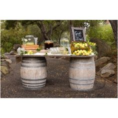 Wine barrel refreshment table--perfect for a summer bridal shower