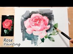 [LVL4] Watercolor Tutorial: How to paint a Rose wet on wet - YouTube