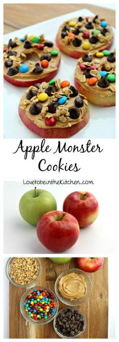 Apple Monster Cookies- The perfect healthier protein packed snack! Topped with f. Apple Monster Cookies- The perfect healthier protein packed snack! Topped with fun ingredients thes Protein Packed Snacks, Healthy Protein Snacks, Healthy Cookies, Healthy Snacks For Kids, Healthy Treats, Gluten Free Kids Snacks, Healthy Foods, Protein Foods For Kids, Fun Meals For Kids
