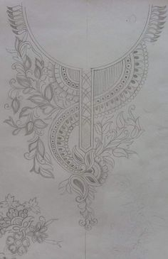Embroidery Neck Designs, Embroidery Motifs, Paper Embroidery, Machine Embroidery Patterns, Embroidery Dress, Beaded Embroidery, Sewing Patterns, Motifs Perler, Blouse Designs