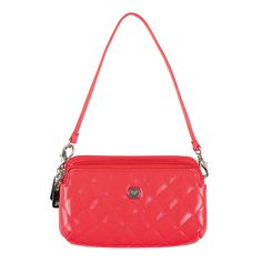 """Grace Adele Double Zip Phone Holder-Coral Clip-on Your Price:  $25.00 Stow your phone and other essentials in this diamond-quilted clip-on. Comes with a detachable wrist strap, or add a strap of a different length and sling it over your shoulder! Perfect when you don't want to carry a big bag.  • Two zippered pockets • 4"""" H, 6.5"""" W • Detachable wrist strap with 6.5"""" drop"""
