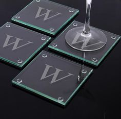 These monogrammed glass coasters would make a great gift for the wedding party -- or for the newlyweds!