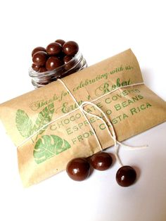 a & b Chocolate covered espresso bean wedding favors. Most other favors I've found are various soaps, which doesn't seem like much fun at all. Coffee Favors, Coffee Wedding Favors, Chocolate Wedding Favors, Rustic Wedding Favors, Beach Wedding Favors, Bridal Shower Favors, Wedding Wishes, Party Favors, Destination Wedding