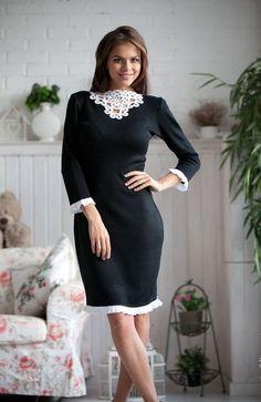 Black dress Dentelle  Elegant knit classic black