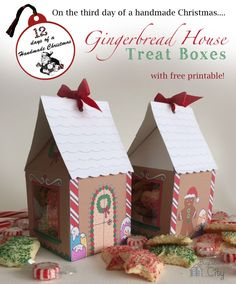 Gingerbread House Treat Box by Kim  Today's handmade Christmas craft is all about these cute little gingerbread house treat boxes!  It's around this time of year I always find myself needing small gift ideas or fun ways of packaging cookies and treats.  These boxes really jazz up a present and with the free printable I'm sharing they are simple to create!