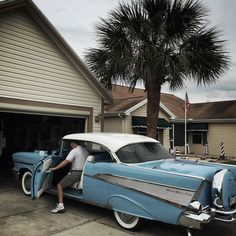 Election issues: Retirement.  A retiree gets inside his 1957 Chevrolet Bel Air outside his home in the Florida retirement community called The Villages.  @dguttenfelder is road tripping across Florida photographing Presidential primary elections voters and the issues driving voters' choices. by natgeo