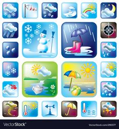 """Buy the royalty-free Stock vector """"Weather and season symbols"""" online ✓ All rights included ✓ High resolution vector file for print, web & Social Media Picture Story For Kids, Cartoon Sun, Logos Retro, Weather Icons, Paper Crafts Origami, Speech Language Therapy, Nature Crafts, Stories For Kids, Preschool Activities"""