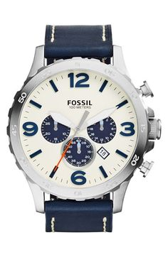 Fossil 'Nate IP' Chronograph Watch, 50mm
