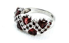 Pierścionek z Granatem Heart Ring, Rings For Men, Silver Rings, Jewelry, Men Rings, Jewlery, Jewerly, Schmuck, Heart Rings