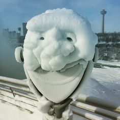 Frozen Niagara Falls offers spectacular view | CTV News (this snow covered site viewer looks like it has a face!)