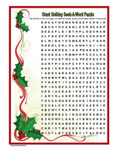 Free!! Giant Holiday Seek-A-Word Puzzle...55 total. (answer sheet included)