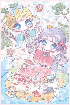 happy new year 2016 Kawaii Anime, Cute Anime Chibi, Kawaii Chibi, Kawaii Art, Cute Animal Drawings Kawaii, Kawaii Drawings, Cute Drawings, Nostalgia Art, Wallpaper Animes