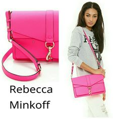 "Rebecca minkoff Hudson motor neon pink bag Rebecca minkoff neon pink bag. Perfect for spring.  Real leather with gold tone hardware.  3 interior pockets Adjustable shoulder strap.  Dust bag included  7""H x 9""L ? 3""D  100% authentic. In great like new collection. Used 5 times.  No visible blemishes on leather.  There are a few very very tiny scratches on the front clasp. They are barely visible but want to mention anyway Rebecca Minkoff Bags"
