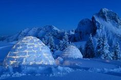 Schlafen im Iglu in Pfronten-Ried - I don't think I'd be brave enough to stay in an igloo, but it sure is pretty!
