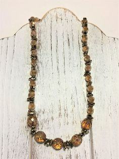Beaded Necklace  Amber Necklace  Spring Necklace  Czech