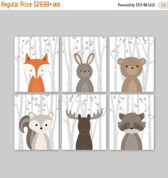 Baby Boy Nursery Art Woodland Nursery Animals Baby Room Decor Forest Animal Prints Set of 6 Fox Rabbit Bear Squirrel Moose Raccoon Pin now to view later