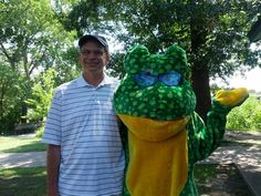 Funky the Frog, The Funky Frog's mascot attends local events in support of non-profits. Here is Funky with Rochester Mayor, Stuart Bikson. We were attending a Kidz Kare Reading event at the Rochester Municipal Park, Mi.
