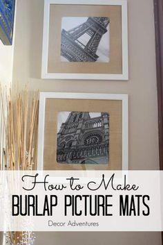How to Make Burlap Photo Mats