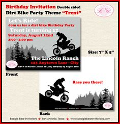 Dirt Bike Birthday Party Invitation Red by BoogieBearInvitation